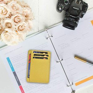 Minimalist Card Holder Wallets Yellow Leather